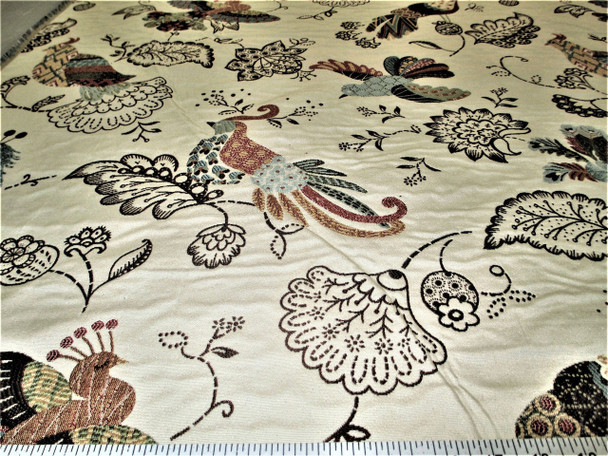 Discount Fabric Upholstery Drapery Multi Colored Jacquard Peacock Floral CC23