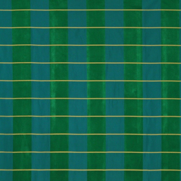 Fabric Robert Allen Beacon Hill Pallette Plaid Emerald 100% Silk Drapery 33JJ