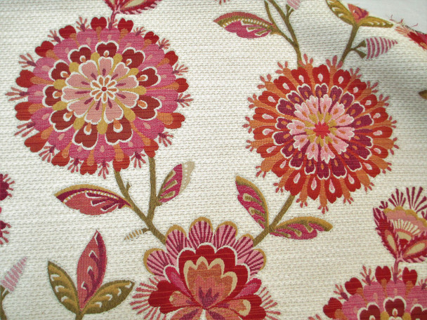 Fabric Richloom Upholstery Drapery Periwinkle Fuchsia Chenille Floral 16GG