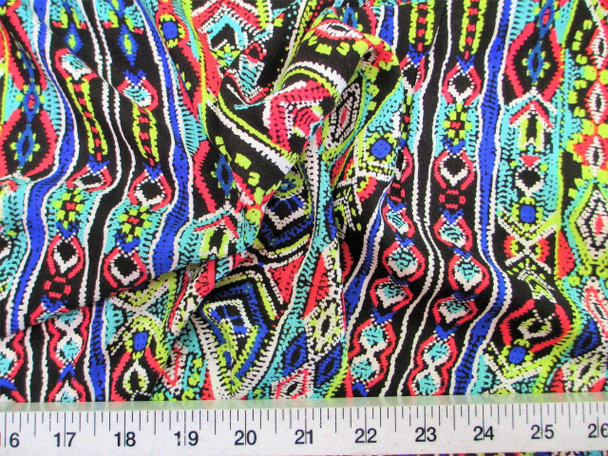 Discount Fabric Challis Rayon Apparel Turquoise Pink Blue and Green Aztec 302G