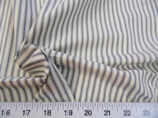 Discount Fabric Upholstery Drapery Ticking Stripe Gunmetal Gray Natural 38KK