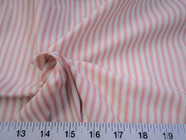 Discount Fabric Upholstery Drapery Ticking Stripe Coral Pink  Natural 39KK