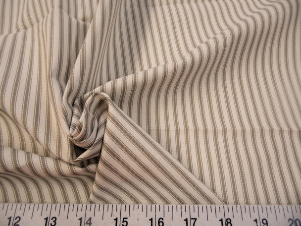 Discount Fabric Upholstery Drapery Ticking Stripe Fawn Brown  Natural 41KK