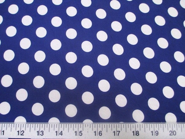 Discount Fabric Printed Jersey Knit ITY Stretch Blue with White Polka Dots 302H