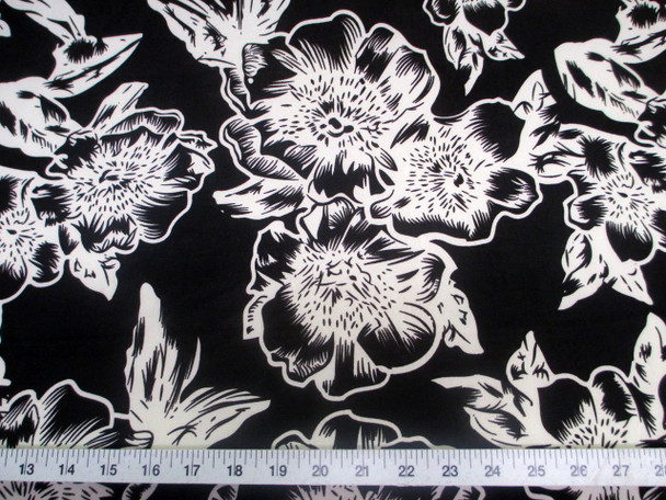 Discount Fabric Printed Jersey Knit ITY Stretch Black White Pansy Floral 300F