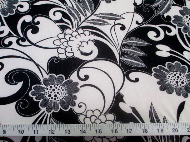 Discount Fabric Printed Jersey Knit ITY Stretch Black White Daisies Floral 400D