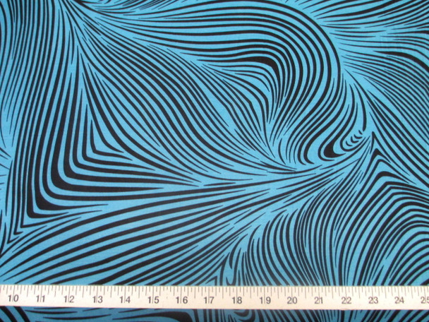 Discount Fabric Printed Jersey Knit ITY Stretch Abstract Zebra Turquoise 200E
