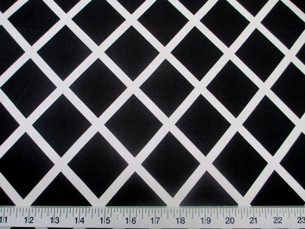 Discount Fabric Printed Jersey Knit ITY Stretch Black Diamond White Lattice 400B