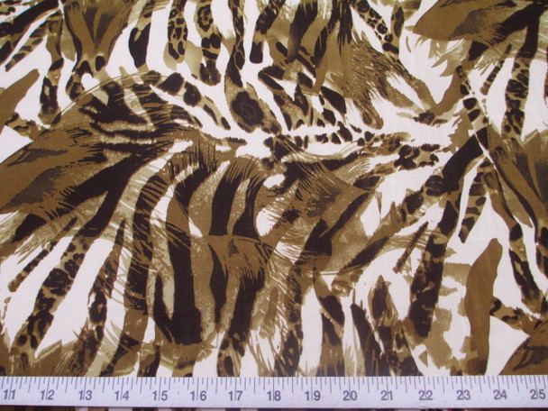 Discount Fabric Printed Jersey Knit ITY Stretch Big Cat Stripe Olive Brown 201E