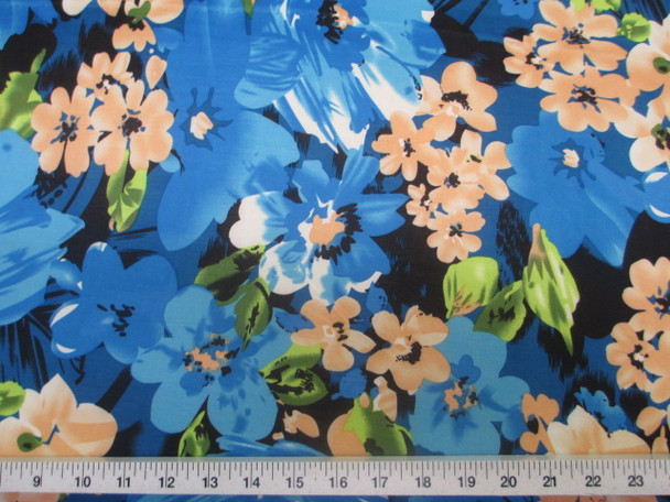 Discount Fabric Printed Jersey Knit ITY Stretch Bold Floral Turquoise blue 401B