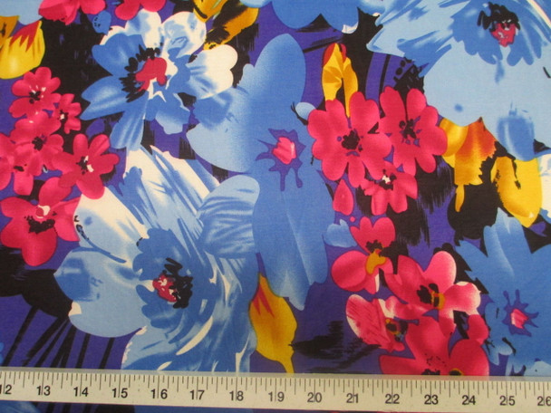 Discount Fabric Printed Jersey Knit ITY Stretch Bold Floral Royal Blue Black 302B