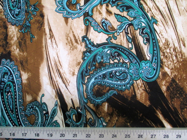 Discount Fabric Printed Jersey Knit ITY Stretch Turquoise Paisley Storm Clouds 401A