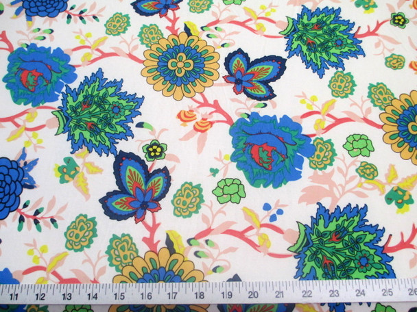 Discount Fabric Printed Jersey Knit ITY Stretch Pink Blue White Floral 200F