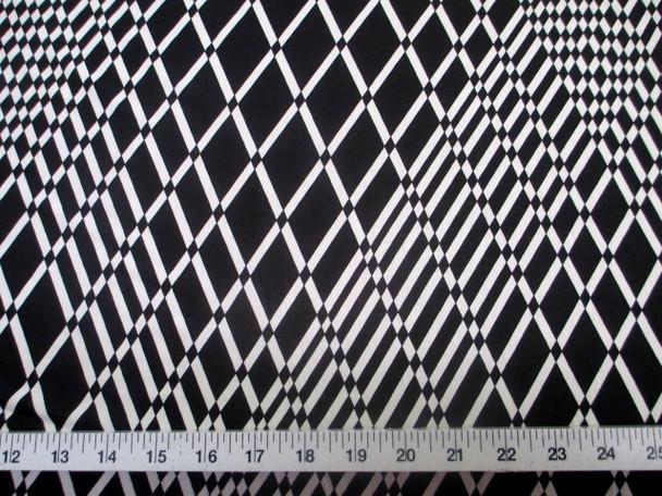 Discount Fabric Printed Jersey Knit ITY Stretch Black White Geometric Diamond 201B