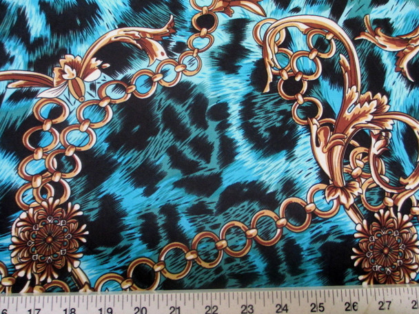 Discount Fabric Printed Jersey Knit ITY Stretch Big Cat Chains Black & Blue 301C