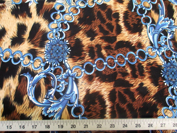 Discount Fabric Printed Jersey Knit ITY Stretch Big Cat Chains Black & Brown 302C
