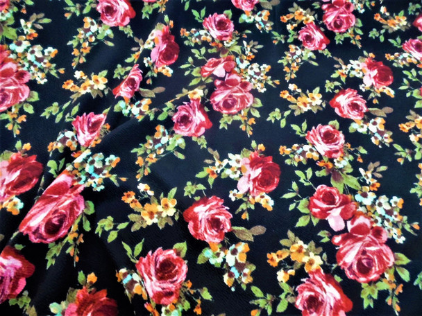 Fabric Printed Liverpool Textured 4 way Stretch Mauve Orange Fall Floral H401