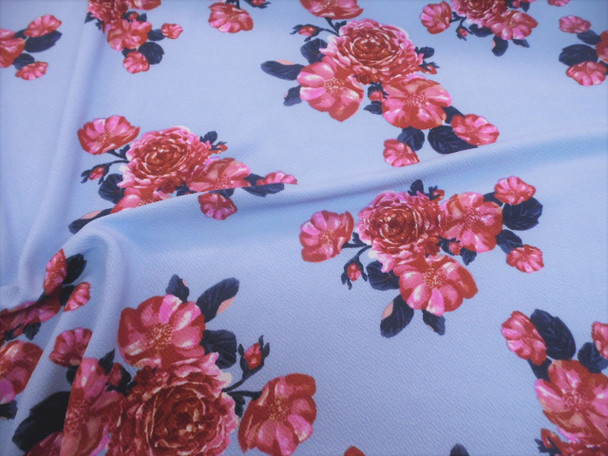 Fabric Printed Liverpool Textured 4 way Stretch Pink Navy Sky Blue Floral H402