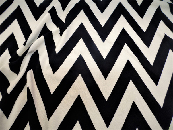 Fabric Printed Liverpool Textured 4 way Stretch Chevron Zip Zag Black Sand H200