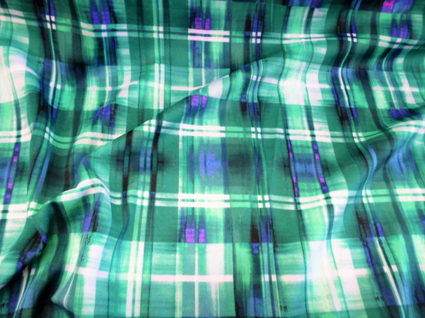 Discount Fabric Printed Spandex Stretch Teal Turquoise White Plaid B306