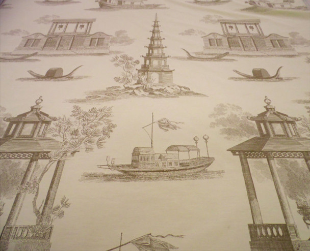 Fabric Robert Allen Beacon Hill Dragon Boat Light Taupe Brown Drapery JJ24