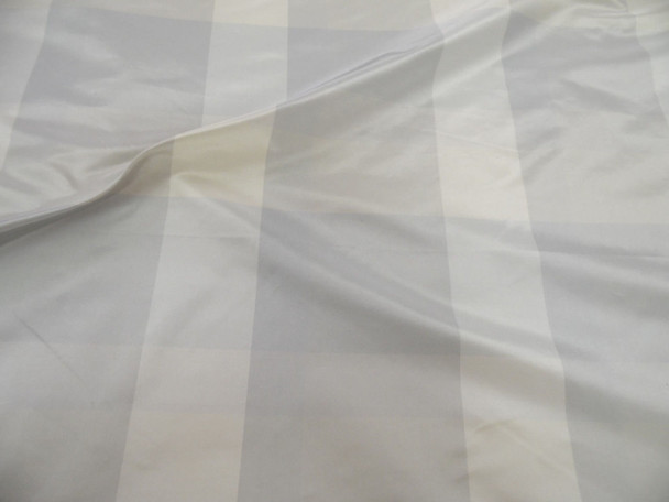 Fabric Robert Allen Beacon Hill Caraco Plaid Ice Wine 100% Silk Drapery HH27