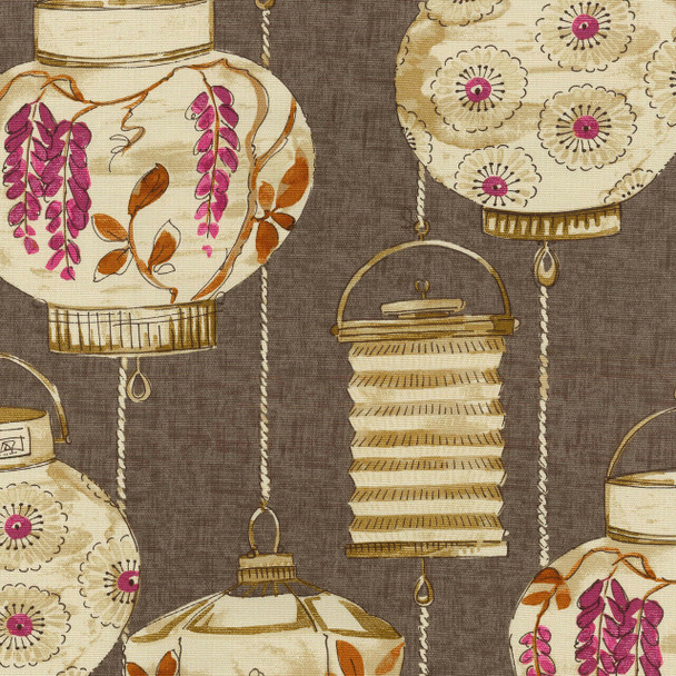 Fabric Upholstery Drapery Waverly Illuminata Spice Asian Themed Latterns 15FF