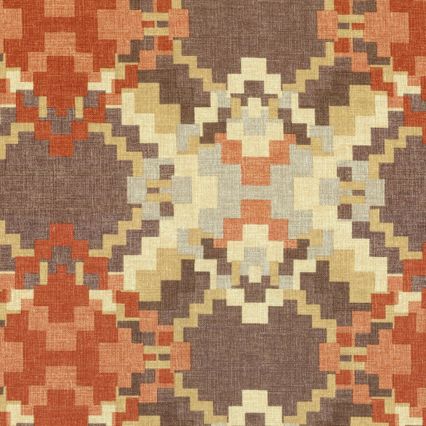 Fabric Upholstery Drapery Waverly Cabin Fever Heather Rustic Aztec 46EE