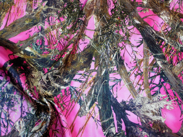 Discount Fabric True Timber Camo MC2 Pink Charmeuse Silky Bridal Satin 22CS