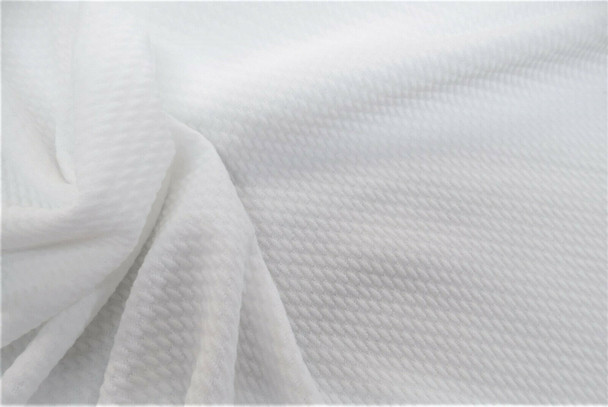 Bullet Textured Liverpool Fabric 4 way Stretch White 10S