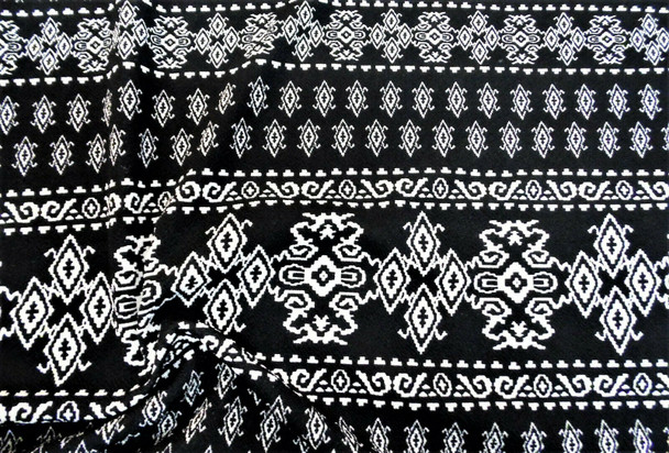 Printed Liverpool Textured Fabric 4 way Stretch Black Ivory Aztec 602H