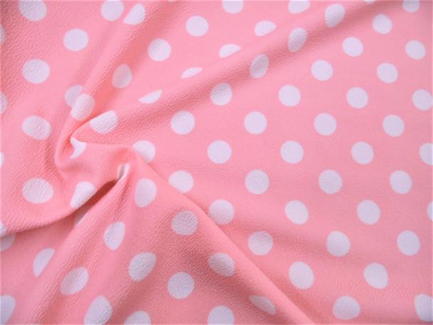 Printed Liverpool Textured 4 way Stretch Fabric Scuba Polka Dot Blush Pink G503