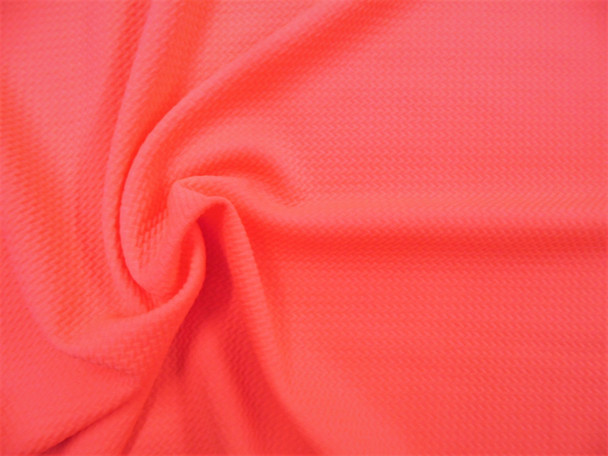 Bullet Textured Liverpool Fabric 4 way Stretch Neon Melon Pink S28