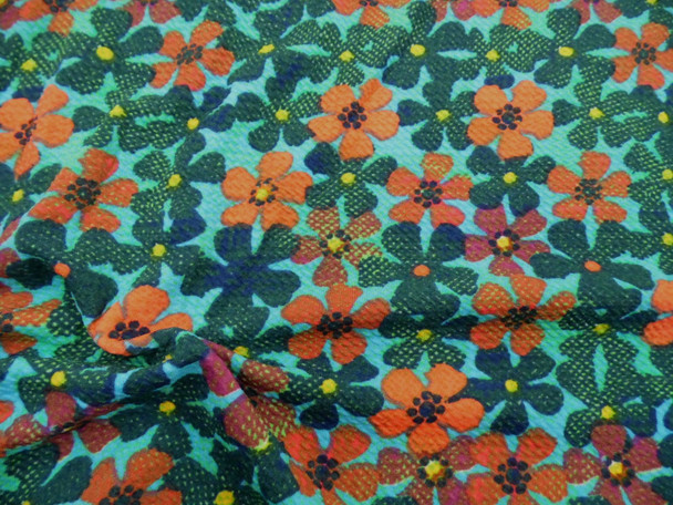 Bullet Printed Liverpool Textured Fabric 4 way Stretch Turquoise Orange Floral U34