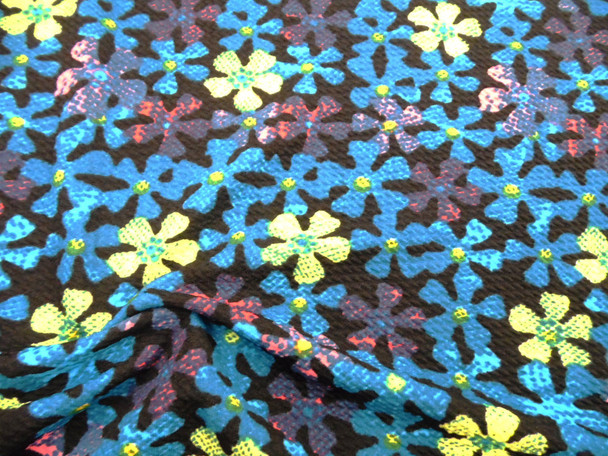 Bullet Printed Liverpool Textured Fabric 4 way Stretch Blue Yellow Pink Floral U35