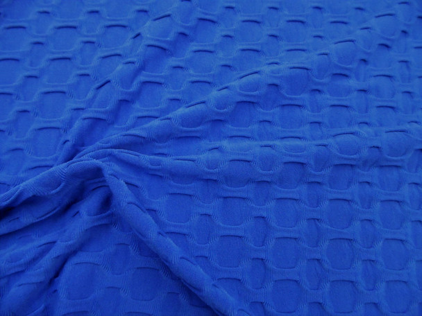 Bubble Liverpool Textured Fabric 4 way Stretch Royal Blue H100
