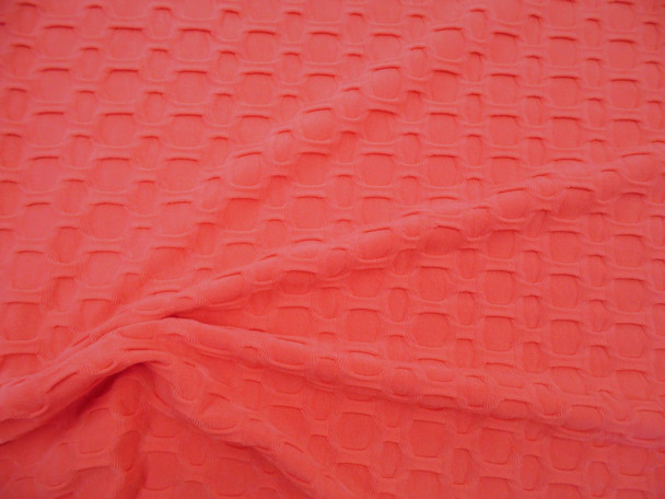 Bubble Liverpool Textured Fabric 4 way Stretch Coral H102