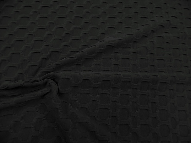 Bubble Liverpool Textured Fabric 4 way Stretch Black H103