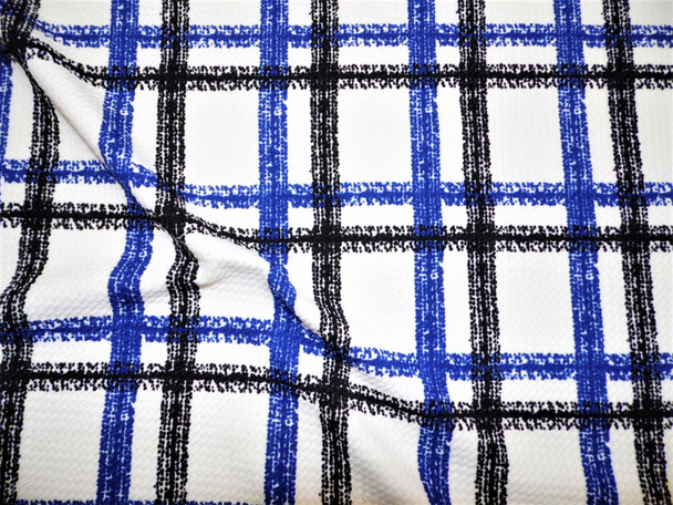 Bullet Printed Liverpool Textured Fabric 4 way Stretch Black Blue White Plaid V12