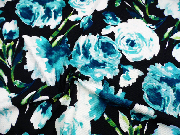 Bullet Printed Liverpool Textured Fabric 4 way Stretch Black Teal Turquoise Floral W30