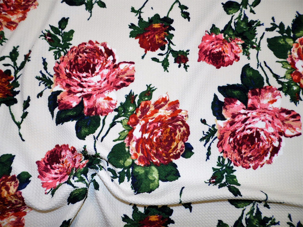 Bullet Printed Liverpool Textured Fabric 4 way Stretch Ivory Burgundy Mauve Orange Floral W22