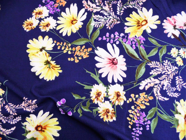 Bullet Printed Liverpool Textured Fabric 4 way Stretch Navy Yellow Pink Purple Daisy Floral W12