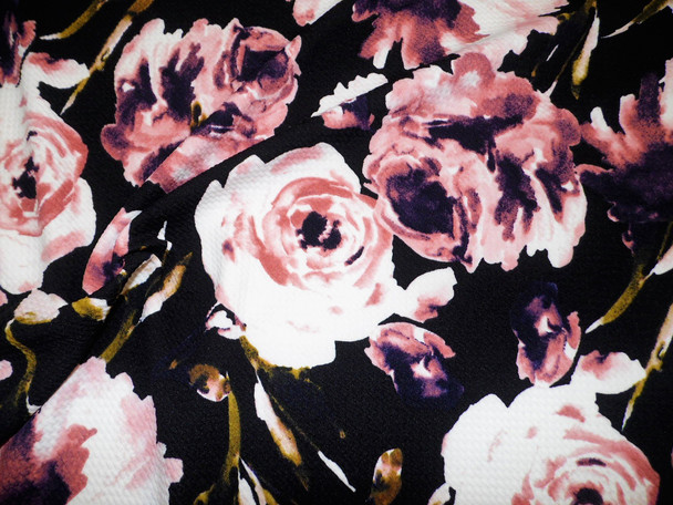 Bullet Printed Liverpool Textured Fabric 4 way Stretch Black Mauve Blush Pink Plum Floral V35