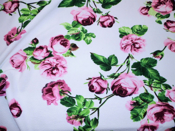 Printed Liverpool Textured Fabric 4 way Stretch Ivory Mauve Burgundy Green Floral G100