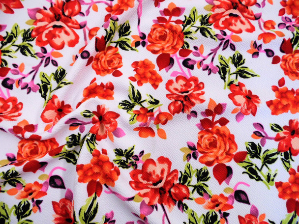 Printed Liverpool Textured Fabric 4 way Stretch White Red Coral Pink Green Floral G101