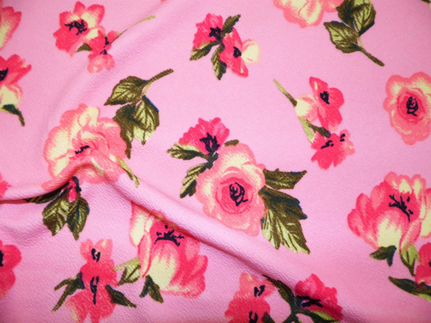 Printed Liverpool Textured Fabric 4 way Stretch Pink Ivory Green Floral G602