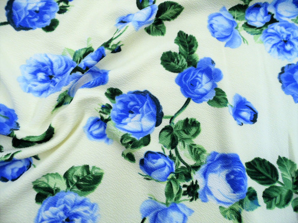 Printed Liverpool Textured Fabric 4 way Stretch Ivory Blue Green Floral G700