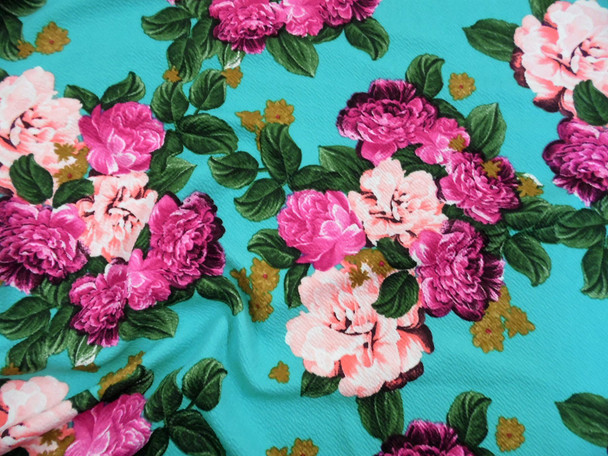 Printed Liverpool Textured Fabric 4 way Stretch Turquoise Fuchsia Pink Floral G103