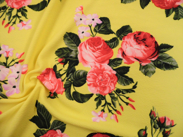 Printed Liverpool Textured Fabric 4 way Stretch Yellow Mauve Pink Floral G702