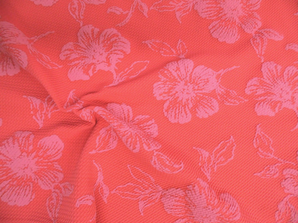 Bullet Embroidered Liverpool Fabric 4 way Stretch Scuba Coral Pink Floral GG40